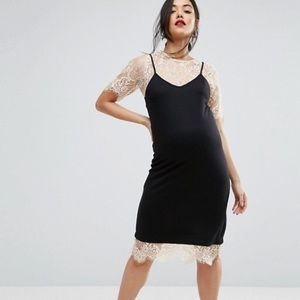 Asos Maternity Black Pink Blush Lace Dress 8